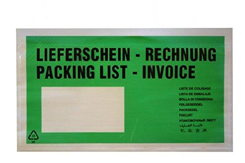 """100 Lieferscheintaschen / DIN lang / """"Lieferschein-Rechnung"""" / Farbe: grün"""