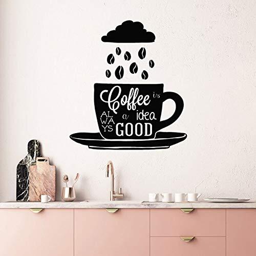 Koffie is altijd een goed idee. Muurstickers Vinyl Home Decor Kitchen Bean Cup zei stickers verwijderbare muurschilderingbehang 45.6x50.4cm