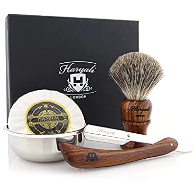 4 Pieces Wooden Shaving Set For Men's. The Set Comes With Black Badger Hair Shaving Brush, Barber Style Cut Throat Razor(blades Not Included), Stainless Steel Bowl & Free Soap. Gift Set For Him