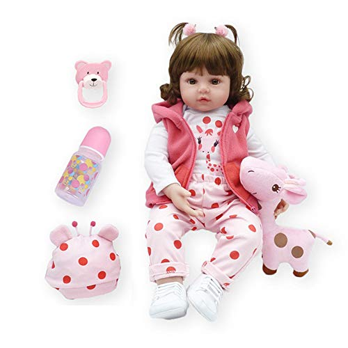 Binxing Toys 60cm Adorable Bebe Reborn Girl Silicona Vinilo Realista Vivo recién Nacido bebé Pelo Rizado