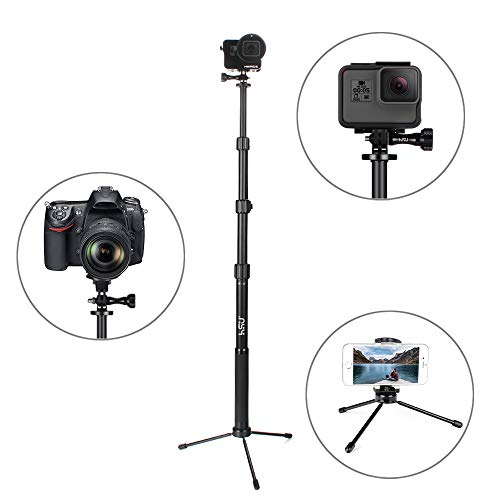 """Selfie Stick with Tripod for GoPro – Waterproof Aluminum Alloy Telescoping 15.6""""-44"""", Compatible with Hero 7/6/5 2018 Action Cameras"""