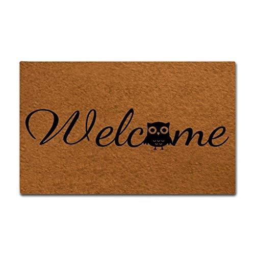 Eureya Felpudo de bienvenida con búho, para interiores y exteriores, sala de estar, cocina, alfombra de goma de bienvenida, decoración del hogar, 45 x 75 cm