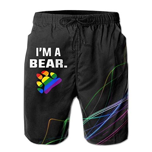 Jiger I'm A Bear LGBT Pride Mens Board Shorts Swim Trunks Beachwear Surf Board Beach Home TrunksM