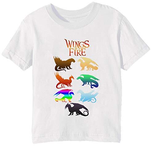 Wings of Fire Tribes Enfants Unisexe Garçon Filles T-Shirt Cou D'équipage Blanc Coton Manches Courtes Taille 3XS Kids Boys Girls T-Shirt XXX-Small Size 3XS