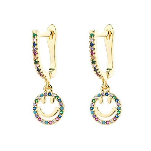 Gymqian Ladies Handmade Earrings Women Micro Paved Cz Stud Earring Classic Circle Rainbow Copper Earrings Geometric Crystal Tassels Jewelry 10 Retro/Twenty/Eight
