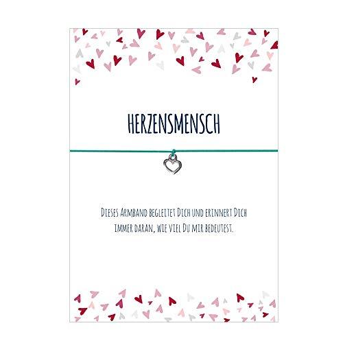Glücksschmiedin Spruch - Armband HERZENSMENSCH mit Herz Anhänger versilbert, elastischem Textilband in türkis und liebevoller Karte