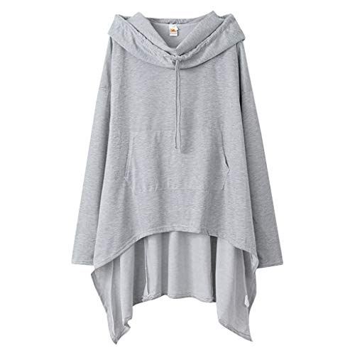 Xmiral Kapuzenpullover Damen Einfarbig Große Größe Sweatshirt mit Tasche Unregelmäßiger Saum Pullover Lose Tunika Jumper T-Shirt Tops(Silber,5XL)