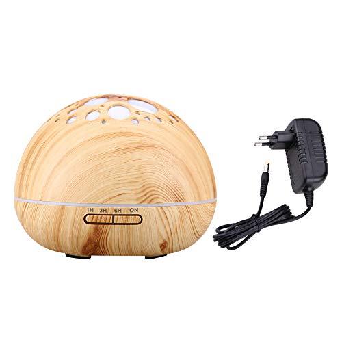 Humidificador de aromaterapia EVTSCAN 300ML, humidificador ultrasónico LED, difusor de aceite de aire frío, purificador, para sala de oficina en casa(Veta de madera clara)