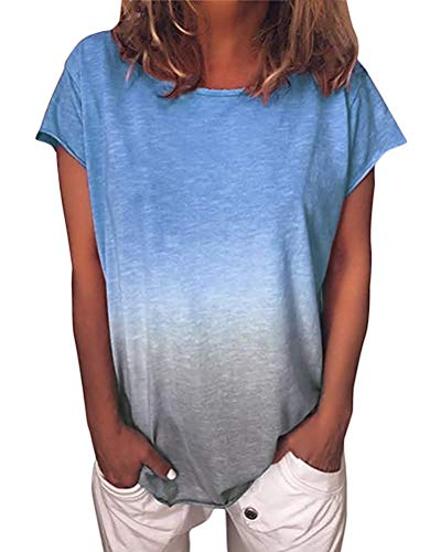 Yidarton T-Shirt Damen Kurzarm Sommer Casual Farbverlauf Tops Lose Tees Shirts Rundhals Oberteil