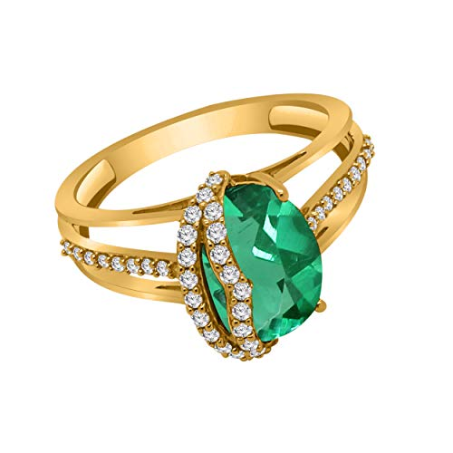 omega jewellery 10K Gold Oval Shape Simulated Gemstone & 0.31 Ct Real Diamond Solitaire Engagement Ring (yellow-gold, emerald & real diamond)
