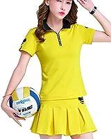 KEIMI レディース ゴルフウェア 上下 セットポロシャツ スカート  ゴルフ ウェア カジュアル 可愛い スポーツウェア おしゃれ (XXXL, イエロー)