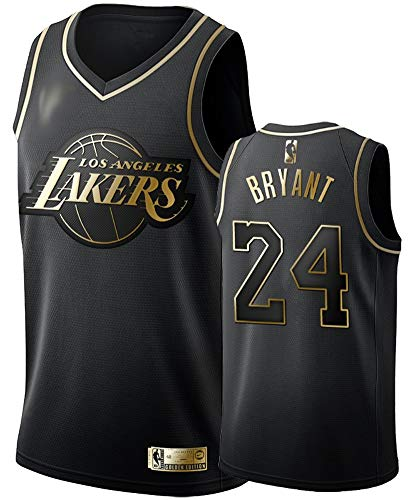 Trainingsanzug für Basketball-Sportbekleidung,Herren Trikots -NBA Trikot Lakers 24# Kobe schwarz Gold New bestickte Kleidung Swingman Basketball Jersey-L