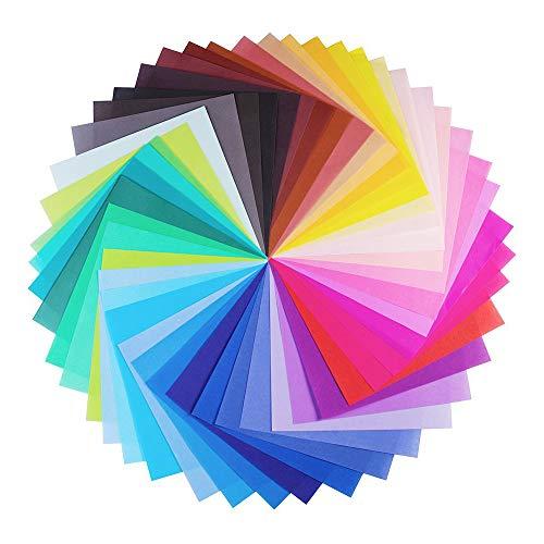 Papel de origami grande de 20 x 20 cm, 50 colores vivos de una sola cara para proyectos de arte y manualidades (100 hojas)