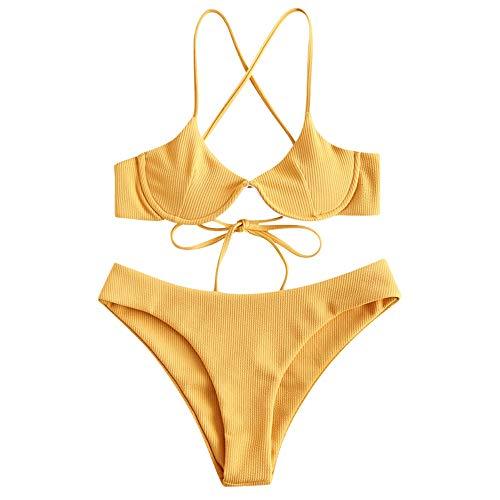 ZAFUL - Conjunto de Bikini para Mujer con Tirantes de Espagueti, Alambre de Apoyo, Criss Cross Amarillo S