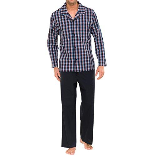 Schiesser Herren Lang Pyjama, Blau (816-jeansblau), 52 (L)
