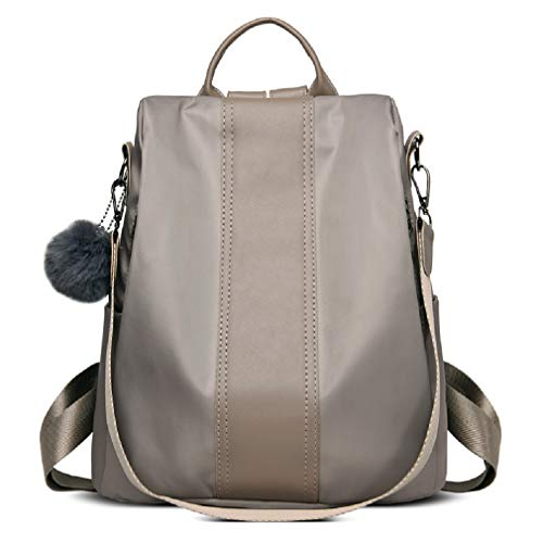 Poliking Women's Fashion Backpack, Rucksack Nylon Waterproof Satchel Crossbody Bag Lightweight Shoulder Anti-theft Handbag for Work School Travel Casual Daily-Khaki 12.5L