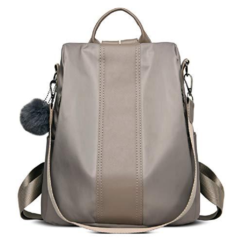 Poliking Women's Fashion Backpack, Rucksack Nylon Waterproof Satchel Crossbody Bag Lightweight Shoulder Anti-theft Handbag for Work School Travel Casual Daily-Khaki 12.5L