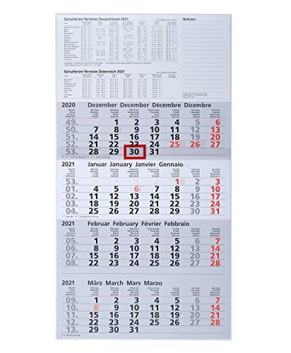 ADINA Viermonatskalender 54x30cm mit Tagesanzeiger (2021)