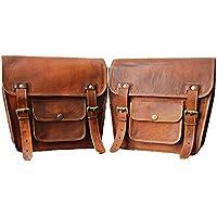 LBH - 2 alforjas laterales para motocicleta, color marrón, de piel, para sillín (2 bolsas)