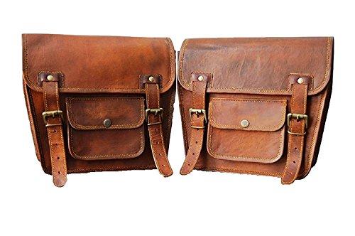2 bolsas laterales de cuero marrón para motocicleta, 2 bolsas para alforjas (2 bolsas)