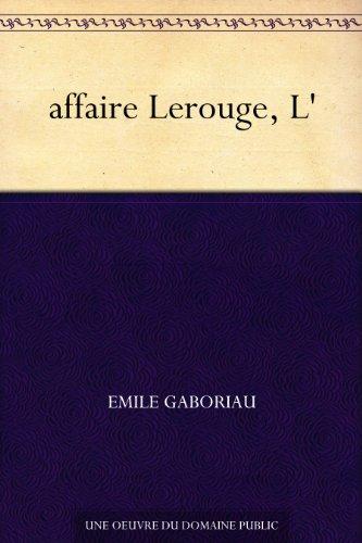 Couverture du livre affaire Lerouge, L'
