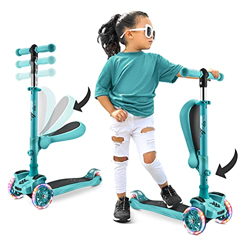 Hurtle 3-Wheeled Scooter for Kids - Wheel LED Lights, Adjustable Lean-to-Steer Handlebar, and Foldable Seat - Sit or Stand Ride with Brake for Boys and Girls, Teal Blue - Hurtle HURFS86TB