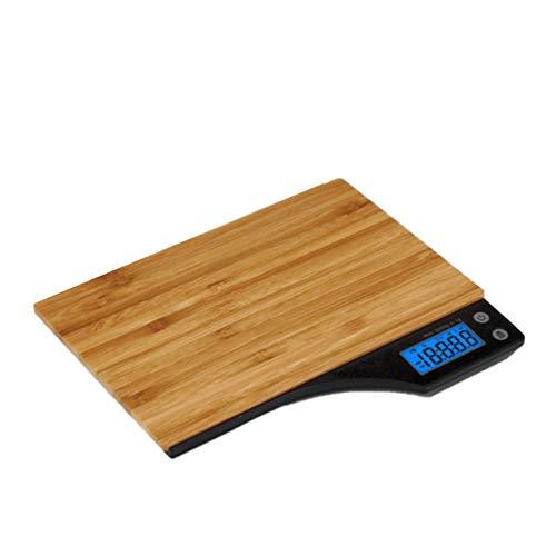 UPKOCH Balance de Cuisine numérique en Bois de Bambou Balance électronique avec écran LCD pour la Nourriture café thé Feuille Bijoux 5 kg