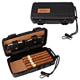 TOIKA Durable Travel Cigar Humidor Case with Cutter and Lighter Gift Set - Waterproof, Airtight ,Rugged, Crushproof -Holds up to 5 Cigars (Black)