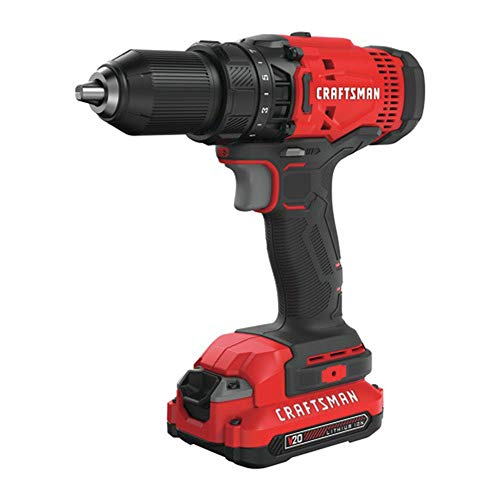 Craftsman CMCD700C1R 20V Variable Speed Lithium-Ion 1/2 in. Cordless Drill Driver Kit with 1 (1.3 Ah) Battery (Renewed)