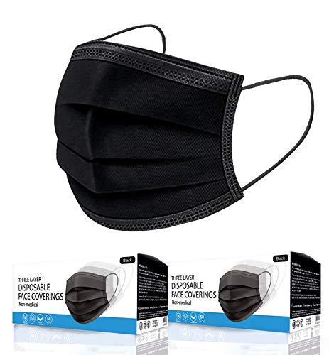KEPLIN 100pk- Disposable 3-Layer Protective Face Masks, High Filterability, Sutaible For Sensitive Skin - Black