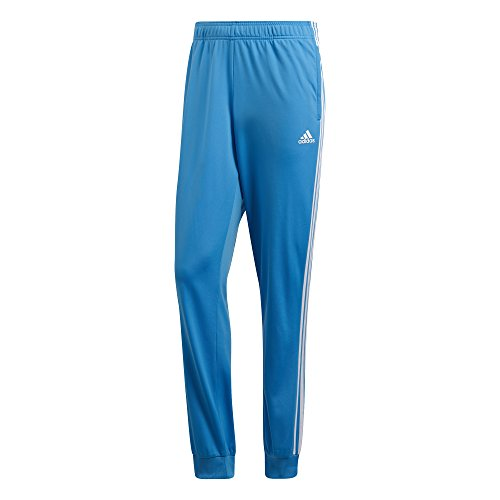 adidas Men's Athletics Essentials 3 Stripes Tapered Tricot Pant, Bright Blue/ White, Large