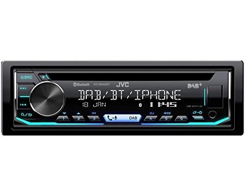 Einbauset: JVC KD-DB902BT Tuner DAB+ CD USB Bluetooth Radio + Radioblende + Ablagefach schwarz für Chevrolet Corvette (C6) 2005-2007 für Chevrolet Uplander 2005-2008