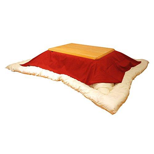 眠り姫 日本製 お手軽 上掛け マルチ カバー 小判 長方形 紬カラー 赤 145×195cm 綿100% 洗濯可