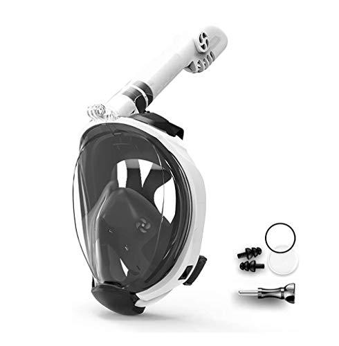 SMSOM Máscara de Snorkel - Mascarilla de Snorkel y Buceo de Cara Completa con visión panorámica de 180 ° - Tubo de ventilación más Largo, estanco, Anti Niebla y Anti tecnología