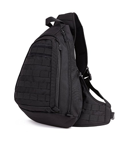Huntvp Tactical Military Chest Backpack Crossbody Sling Pack Molle Rucksack Large Laptop Daysack for Camping Cycling Riding Hunting Black
