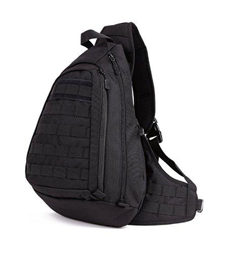 Huntvp® Taktisch Brusttasche Militär Schultertasche Molle Dreieck Pack Crossbody Bag Wasserdicht Bundeswehr Alltagstasche Slingbag mit Verstellbar Schultergurt, Schwarz