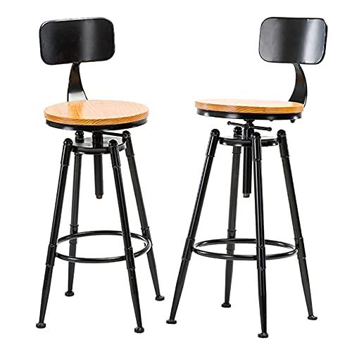 Sgabelli da bar 2 pezzi con sedile in legno, sedia da bar industriale con schienale e gambe in ferro nero, sgabelli da bar ad altezza bancone per la cucina di casa, sala da pranzo, sedia per il temp