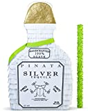 White Tequila Bottle Pinata with Stick -17.5' x 10.5' x 4.5' Perfect for Adults Party Decorations, Centerpiece, Photo Prop, Birthday, Funny Anniversary, 21 birthday - Fits candy/favors: by Get a pinata