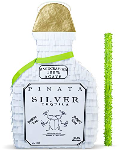 """White Tequila Bottle Pinata with Stick -17.5"""" x 10.5"""" x 4.5"""" Perfect for Adults Party Decorations,cPhoto Prop, Birthday, Funny Anniversary, 21 birthday - Fits candy/favors"""