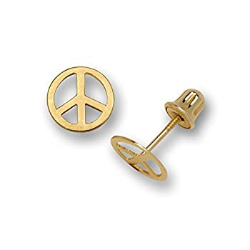14K Gold Small Polished Peace-sign Stud Post Screw-back Earrings  Yellow or white  7mm   yellow-gold