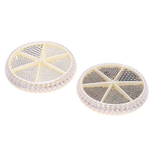 Pixnor 2 Ensembles 3D Perles à Ongles Micro Nail Art Accessoire Perles Mini Boules pour Ongles Beauté Décorations Manucure Conseils Charmes