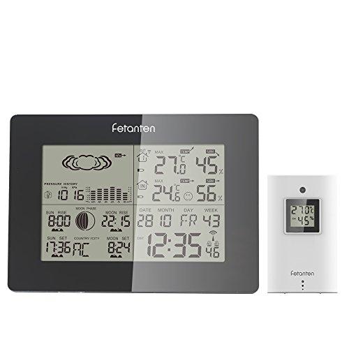 Fetanten WS005E Wetterstation mit Außensensor, 3CHs Aussensensor Funk Wetterstation mit DST DCF Signal Temperatur Alarmgrenzen für Innen Draußen Hygrometer Thermometer Überwachung