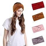 4 Stück Yoga-Stirnbänder im Boho-Stil, überkreuztes Kopfband, Yoga Elastische Haarbänder, Sport Stirnband, Anti Rutsch elastische Sport Stirnband, für Alltag Yoga Sport Fitness(4 Farben)