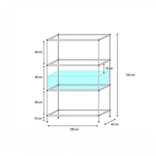 Aluminium Steck-Regale verschiedene Größen (Regal für 100 x 40 x 30 cm Aquarien)