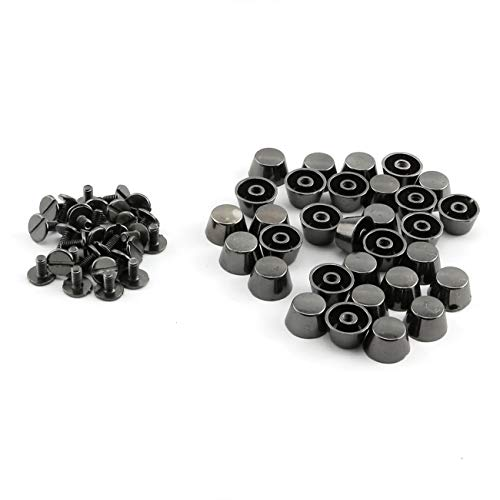 ZRM&E 30pcs 12mm Handbag Bottom Protecting Feet Flat-Topped Cone Head Screwback Studs DIY Metal Spikes for Leather Craft Bag Shoes Clothes Decoration Black