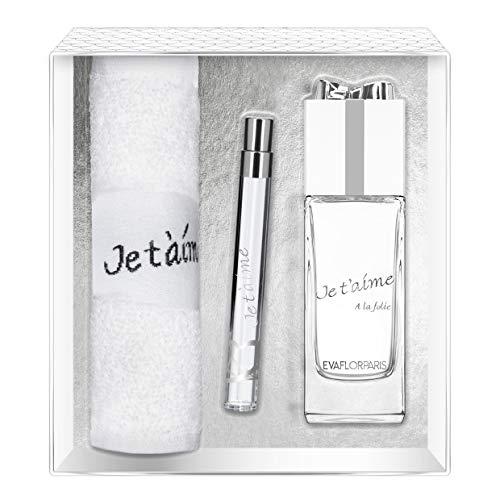 Evaflorparis Je T'Aime À la Folie Gift Box Eau de Parfum 100 Ml + Pocket Atomizer 12 Ml + Hand Towel Set Women Spray for Her Women Perfume Evaflorparis 520 g