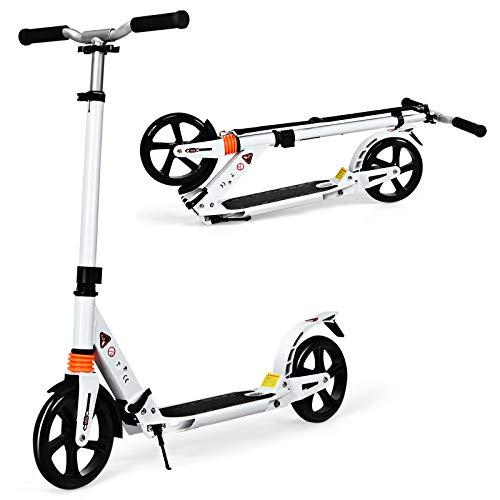 GOPLUS Höhenverstellbarer Tretroller, Klappbarer Scooter mit Tragegurt & Fußständer, Cityroller aus Aluminiumlegierung, mit großen PU-Räder, für Erwachsene & Kinder ab 8 Jahren (Weiß)