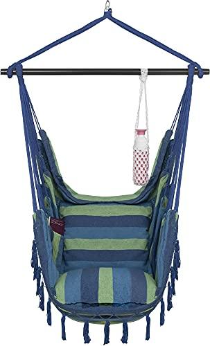 VITA5 Silla Colgante con 2 Cojines - Portavasos y Compartimento para Libros - Sillon Colgante XXL - Carga hasta 225 kg - Silla Hamaca Colgante para Interior y Exterior (jardín) (Azul/Verde)