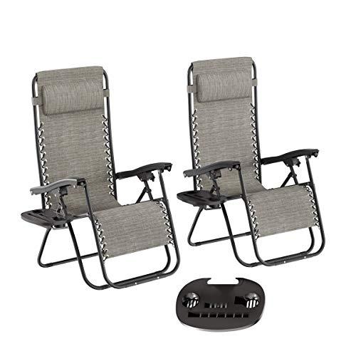 Lavish Home Zero Gravity Lounge Chairs- Set of 2, Gray