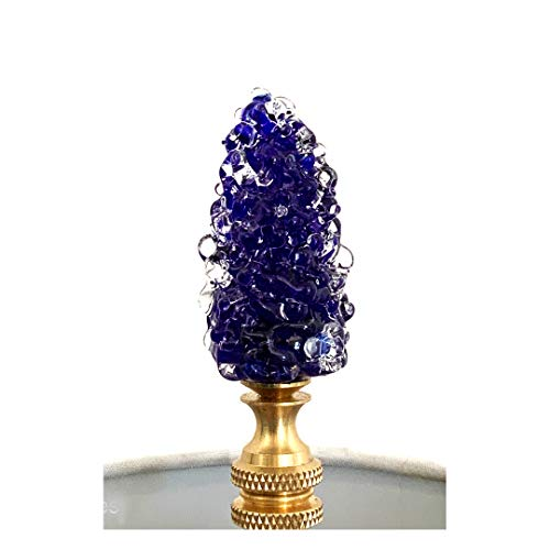 Handmade Glass Hanukkah Lamp Finial, Venetian Glass, Chanuka Bush Finial, Cobalt Blue Finial, Brass Hardware, Lampwork Glass
